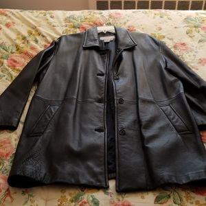 100%Leather Walking Coat by AKA By Eddie Bauer